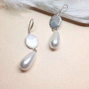 Handmade Pearl Silver Drop Earrings